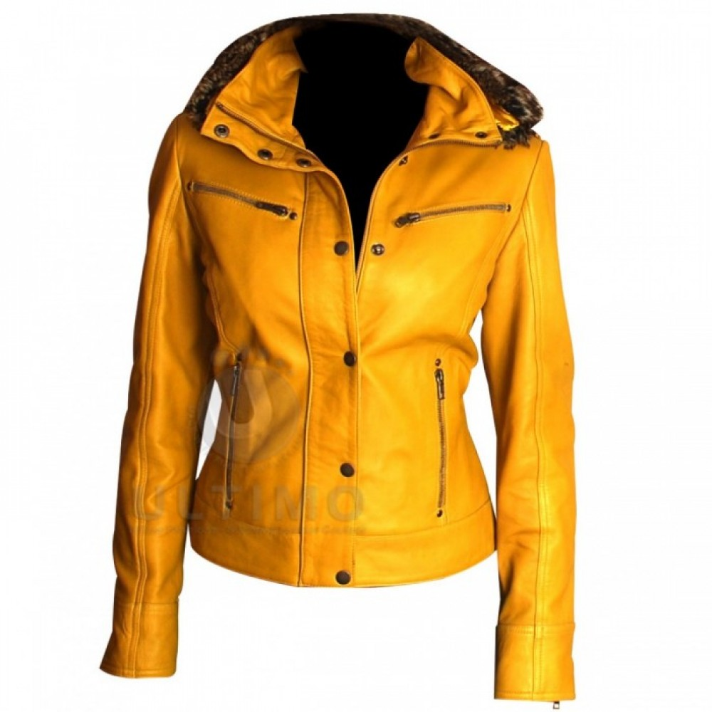 NEW LOOK Women Yellow Hooded Leather Jacket