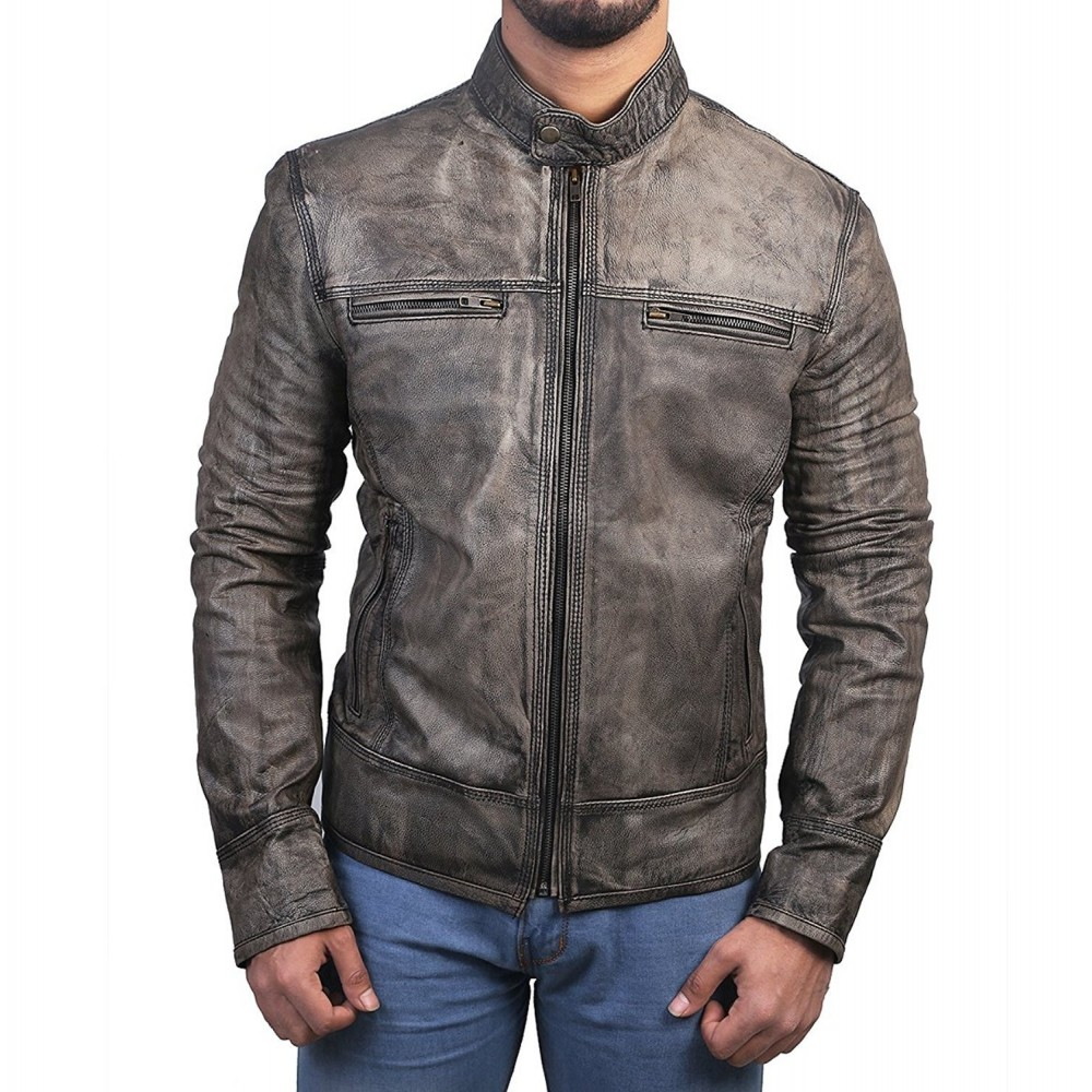 Fashionable Black Motorcycle Distressed Leather Jacket