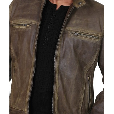 Trendy Motorcycle Distressed Leather Jacket