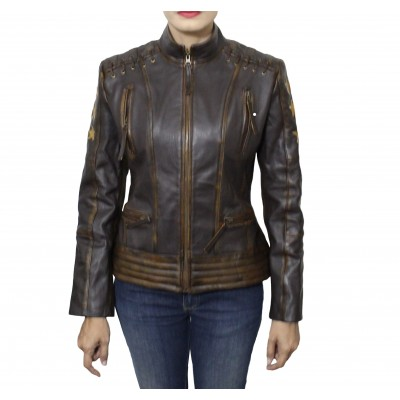 CAFE RACER VINTAGE CLASSIC WOMEN'S OX BLOOD WAXED BROWN LEATHER JACKET