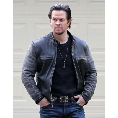 Distressed Mark Wahlberg Daddys Home Leather Jacket