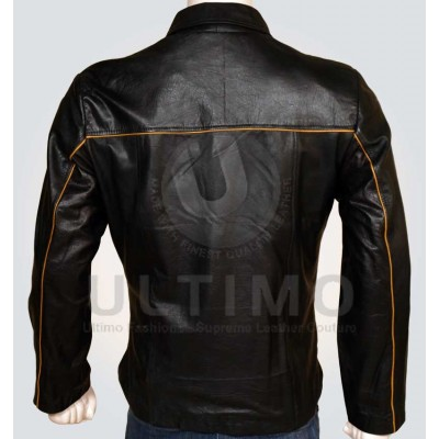 black with orange strips women leather jacket